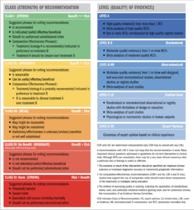 Clases de recomendación y nivel de evidencia